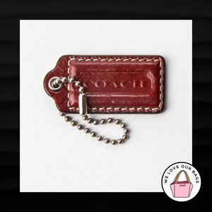 "2"" Medium COACH BRICK RED PATENT LEATHER KEY FOB"